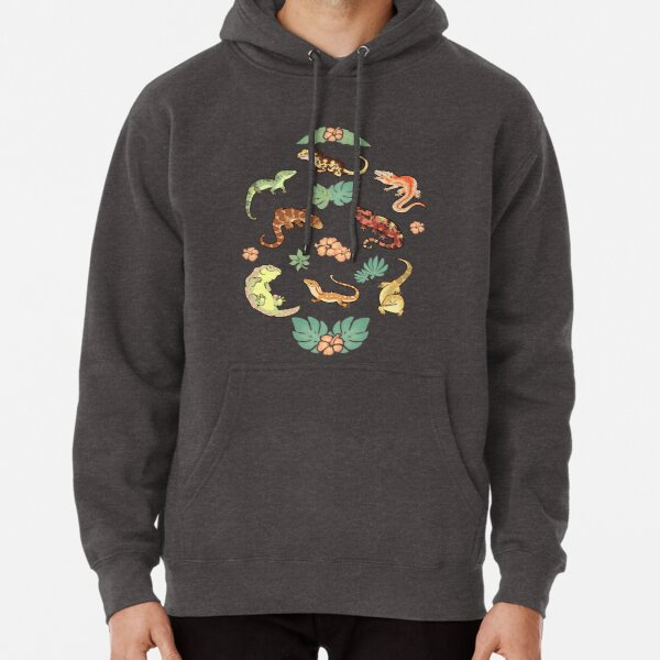 Gecko family in green Pullover Hoodie