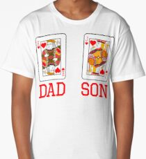 Dad and son playing cards Long T-Shirt