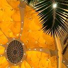 Happy Yellow Silk Decor With Stars by Georgia Mizuleva