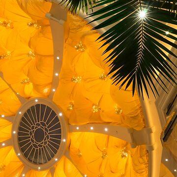 Happy Yellow Silk Decor With Stars by GeorgiaM