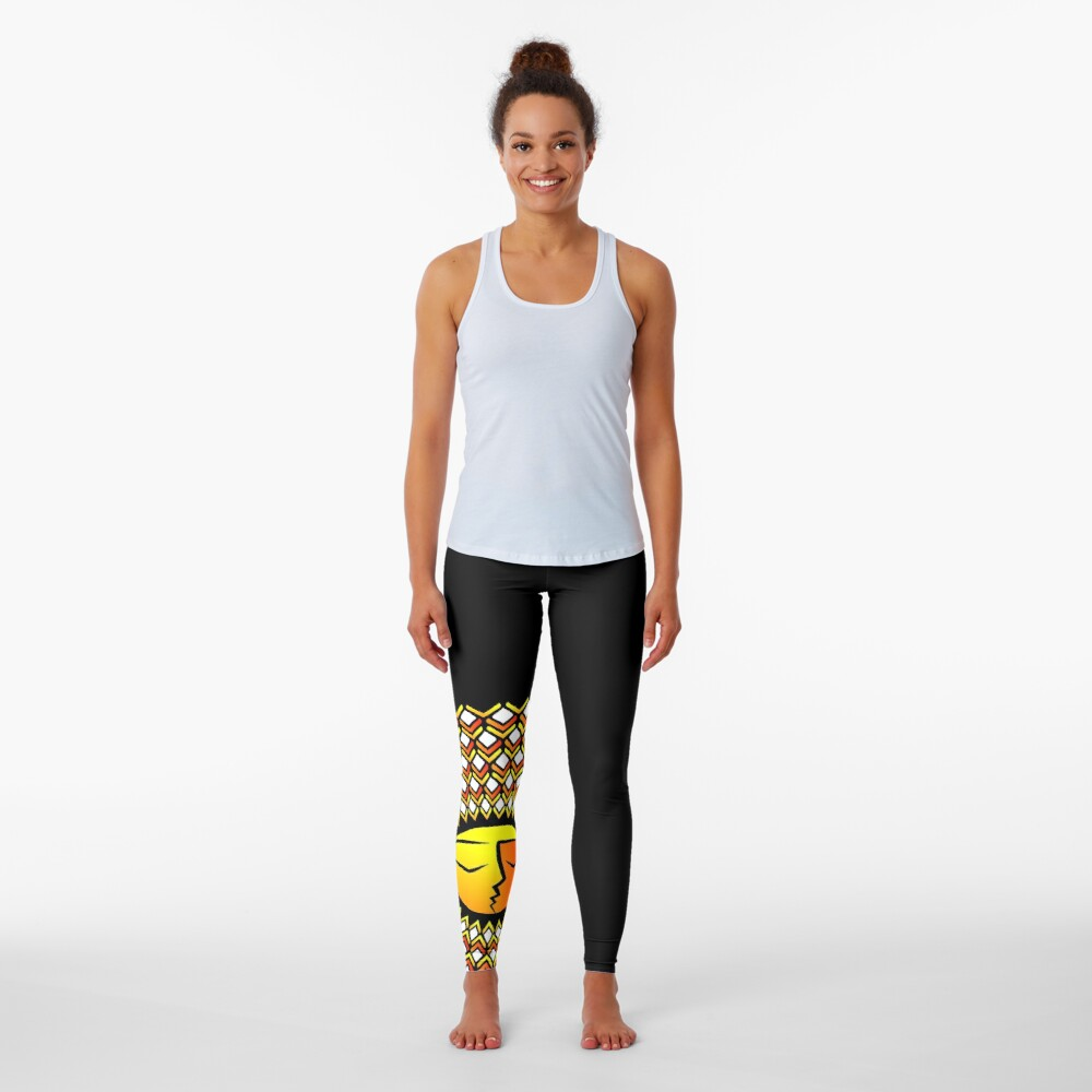 Ethnic ornament of the sun and moon in one person Leggings