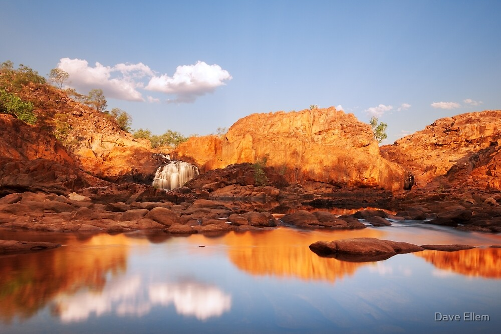 Mirrored light at Upper Edith Falls, NT by Dave Ellem