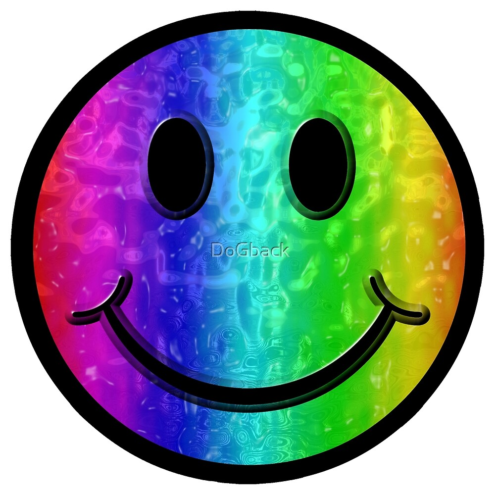 Smiley face rainbow. Happy wet by dogback