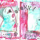 Wonder: mixed media in dark red, white and blue, sketchy style, portraits and animals by mariska eyck