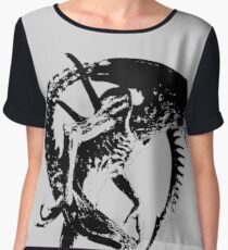 Alien Black & White Women's Chiffon Top