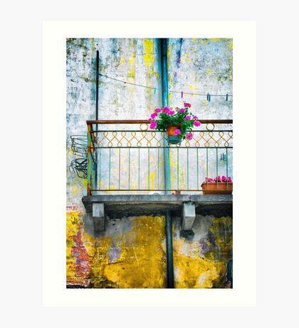 Geraniums on balcony Art Print