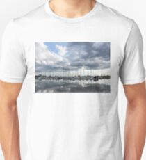 Soft Silver - Reflecting on Boats and Clouds Unisex T-Shirt