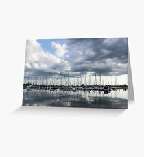 Soft Silver - Reflecting on Boats and Clouds Greeting Card