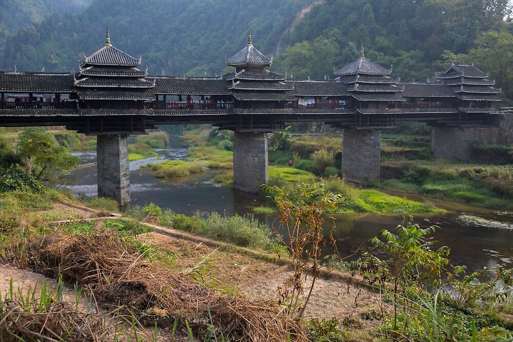 Dong Village Wooden Bridge by Mark Williamson
