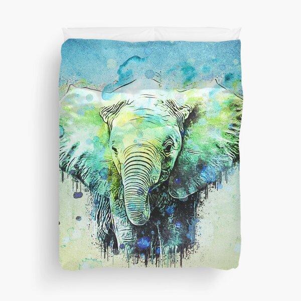 watercolor elephant Duvet Cover