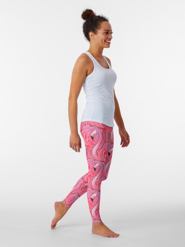 Alternate view of Cute graphic flamingo pattern Leggings