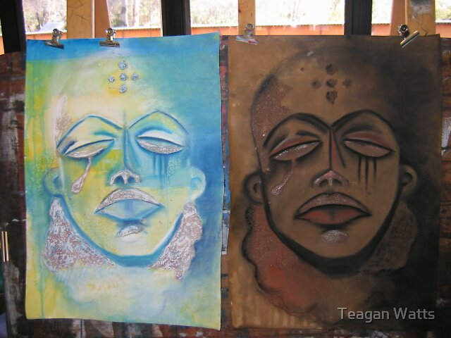 african mask - lightness transparency, and blackness infinity by Teagan Watts