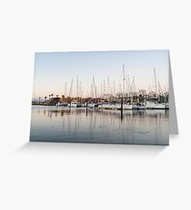 Feeding Fish - Early Morning Marina at Portimao Portugal Greeting Card