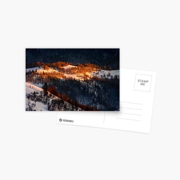 sunrise in winter mountains Postcard