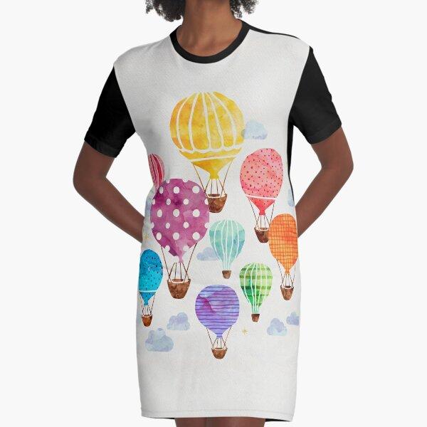 Hot Air Balloon Graphic T-Shirt Dress