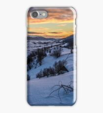 winter sunrise in mountainous rural area iPhone Case/Skin