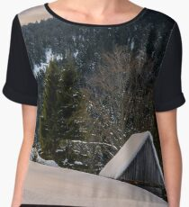 woodshed on the hillside in winter mountains Chiffon Top
