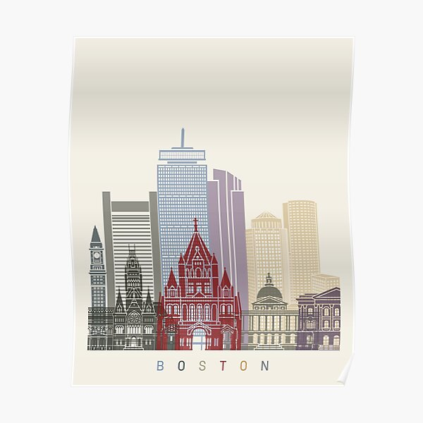 Cartel del horizonte de Boston Póster