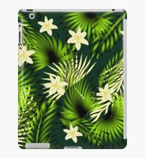 Tropical seamless pattern with palms leaves and plumeria flowers. iPad Case/Skin
