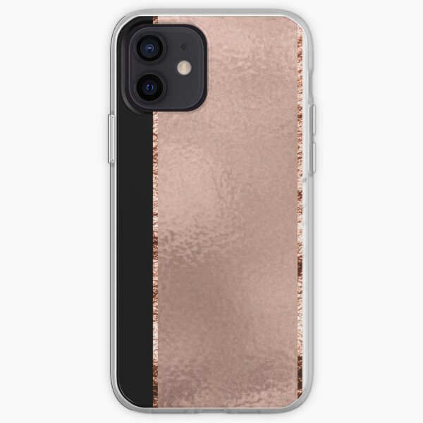Rose metallic striping - marble and onyx iPhone Soft Case