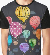 Heißluftballon Nacht Grafik T-Shirt