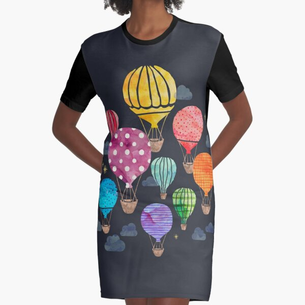 Hot Air Balloon Night Graphic T-Shirt Dress