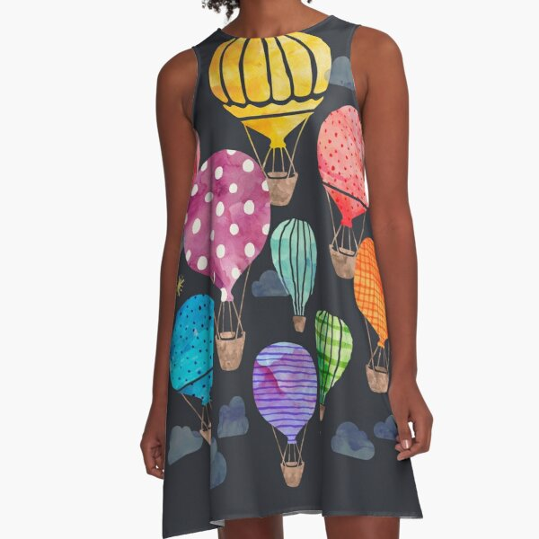 Hot Air Balloon Night A-Line Dress