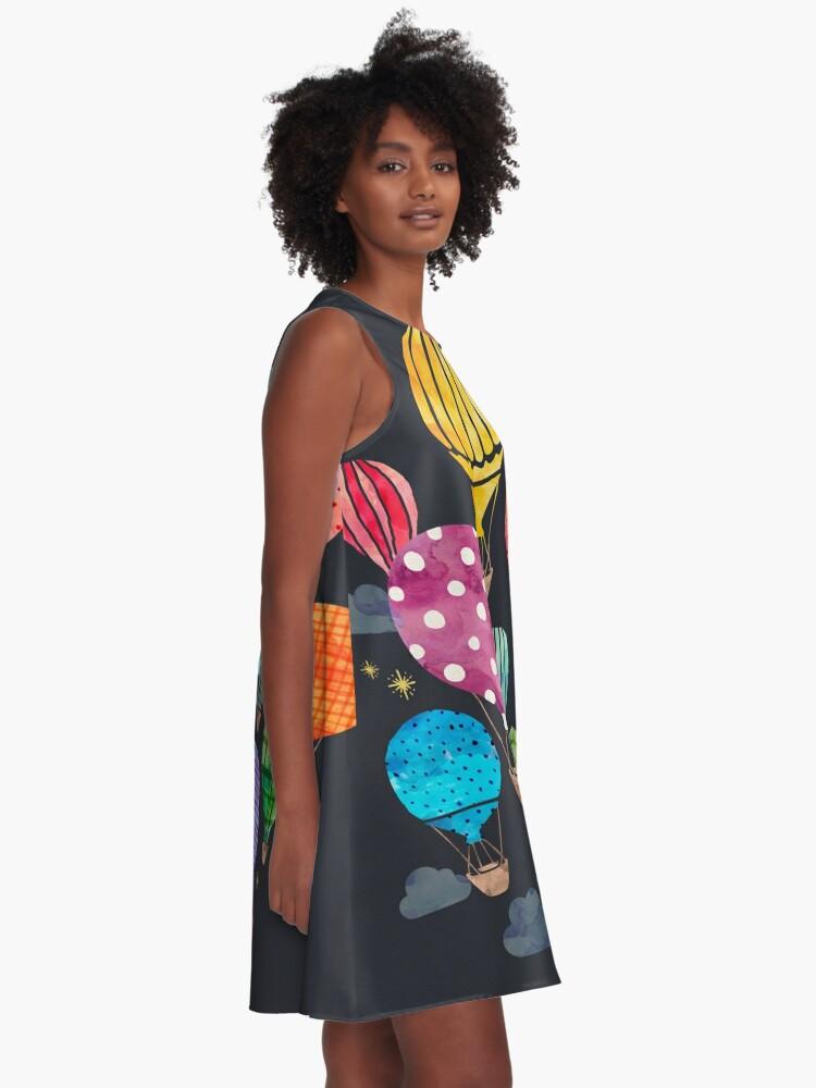 Alternative Ansicht von Heißluftballon Nacht A-Linien Kleid