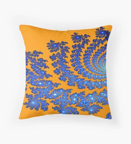 Orange/Blue Cyclone Fractal Throw Pillow