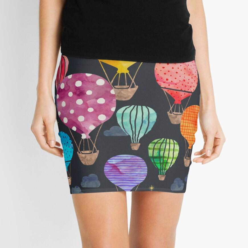 Hot Air Balloon Night Mini Skirt