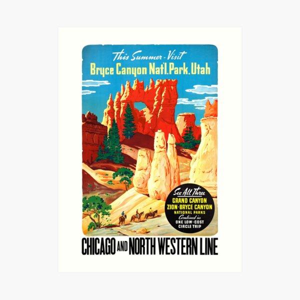 USA Utah Vintage Travel Poster Restored Art Print