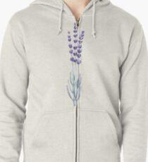 Watercolor lavender Zipped Hoodie