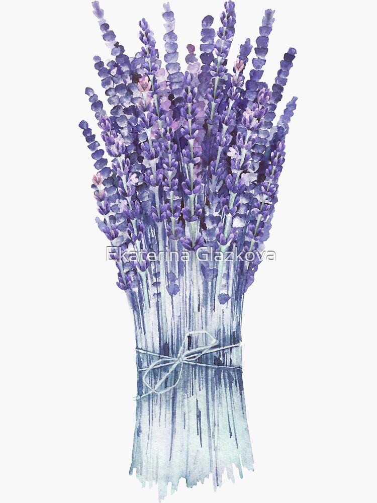 Watercolor lavender bouquet by Glazkova