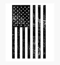 Distressed American Flag - Black Photographic Print