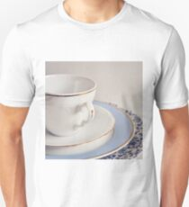 White china cup, saucer and plates. Unisex T-Shirt