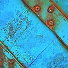 Blue rusty boat detail. by Lyn  Randle