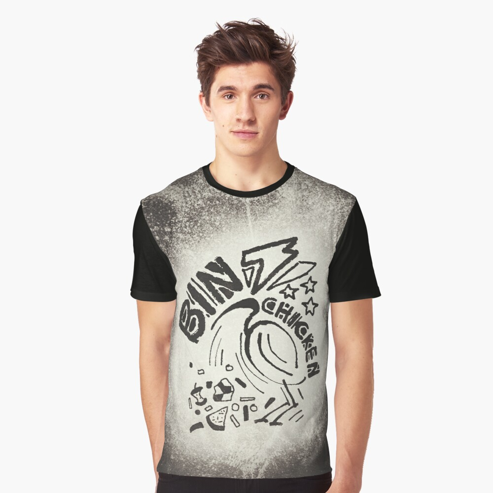 Bin Chicken Metal Style Graphic T-Shirt