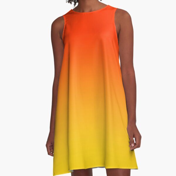 OMBRE GRADIENT ORANGE RED AND YELLOW ONE OF 100 CHIC OMBRE 2 TONE DESIGNS ON OZCUSHIONS A-Line Dress