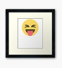 Crazy Tongue Out Emoji Face  Framed Print