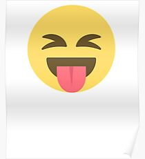Crazy Tongue Out Emoji Face  Poster