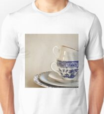 Stacked blue and white china cup and saucers. Unisex T-Shirt