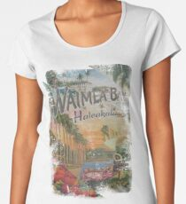 Vintage Hawaiian Waimea Bay, Haleakala, Postcard  Women's Premium T-Shirt