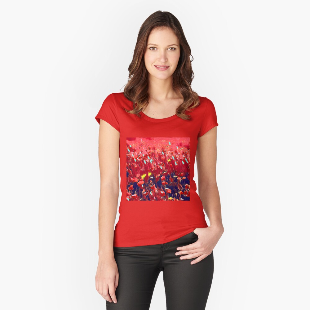 Magical poppy field Fitted Scoop T-Shirt