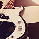 Black and white Bass Guitar. by Lyn  Randle