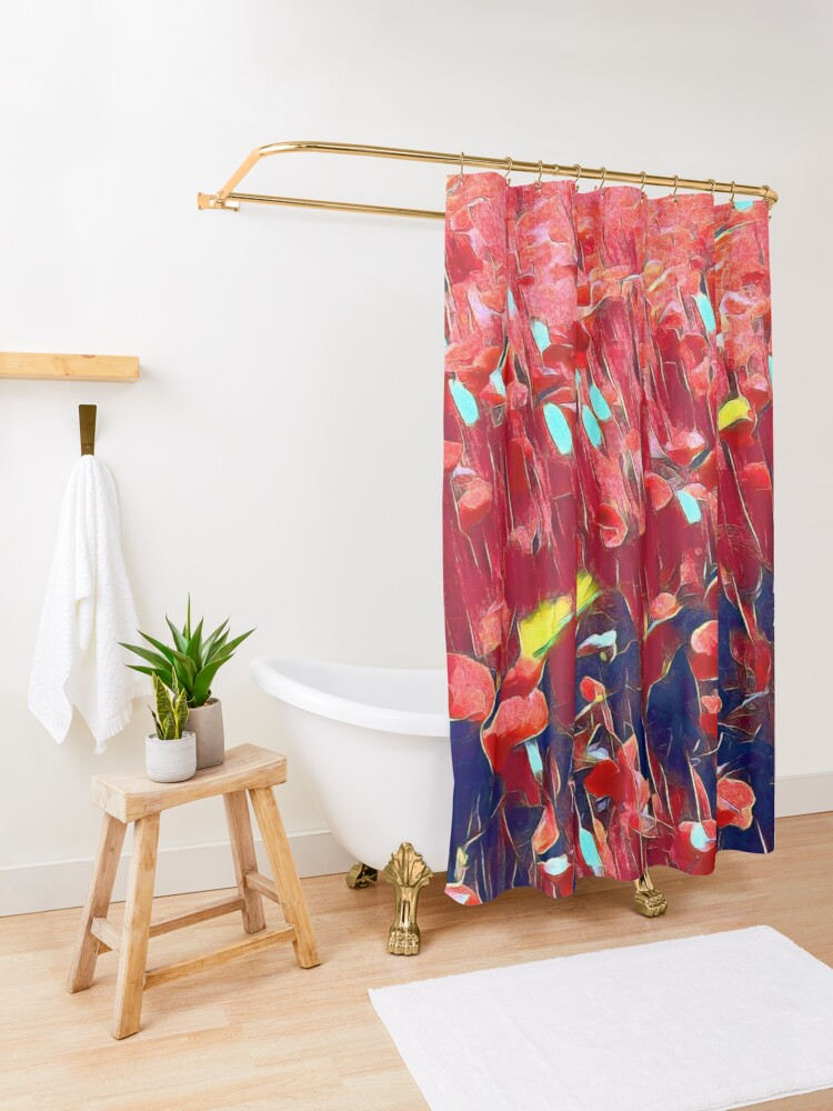 Alternate view of Magical poppy field Shower Curtain