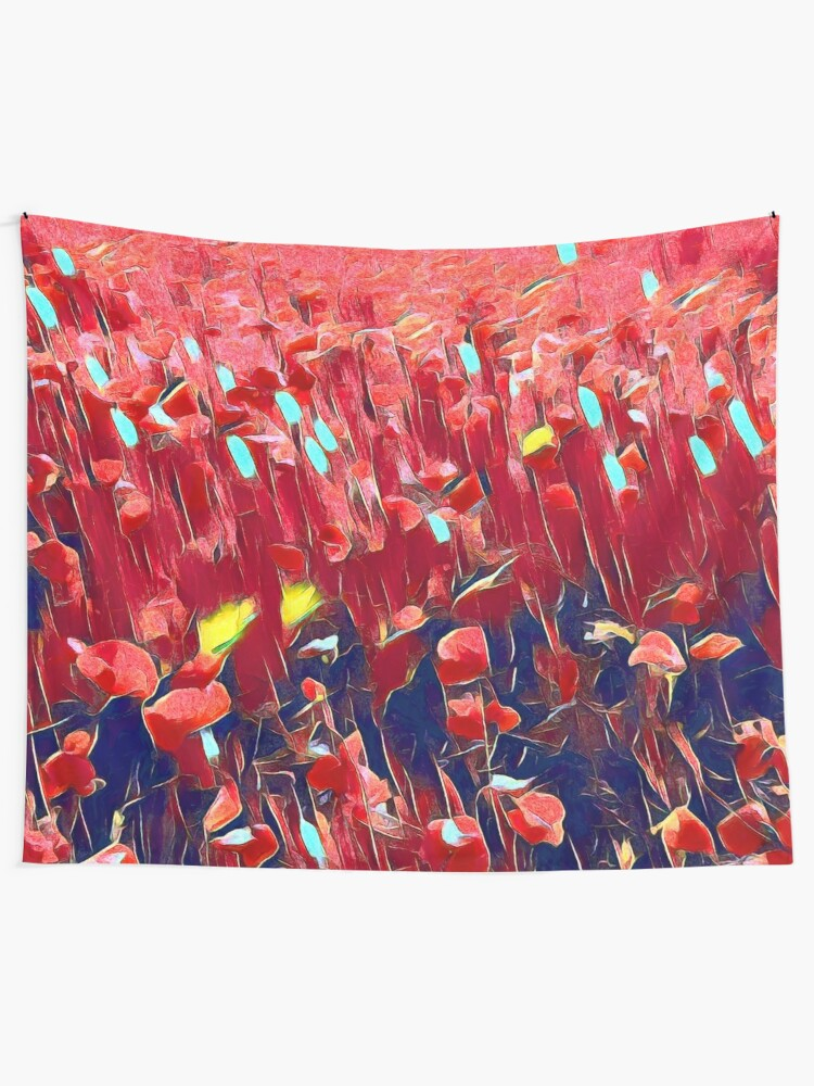 Alternate view of Magical poppy field Tapestry