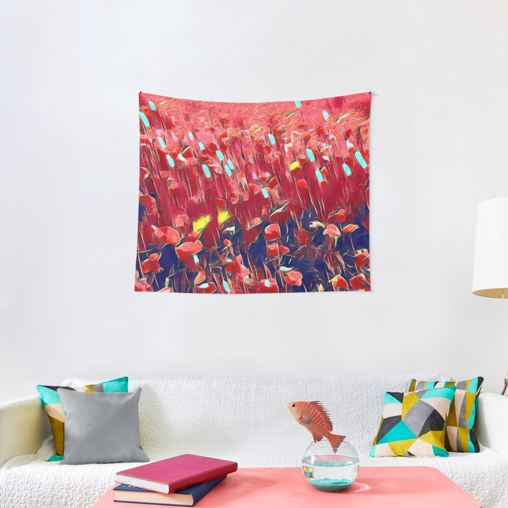 Magical poppy field Tapestry