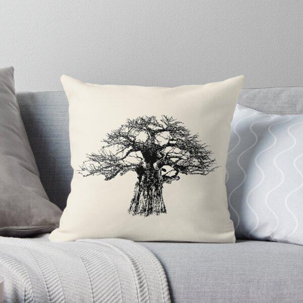 Baobab Tree in Black and White Throw Pillow