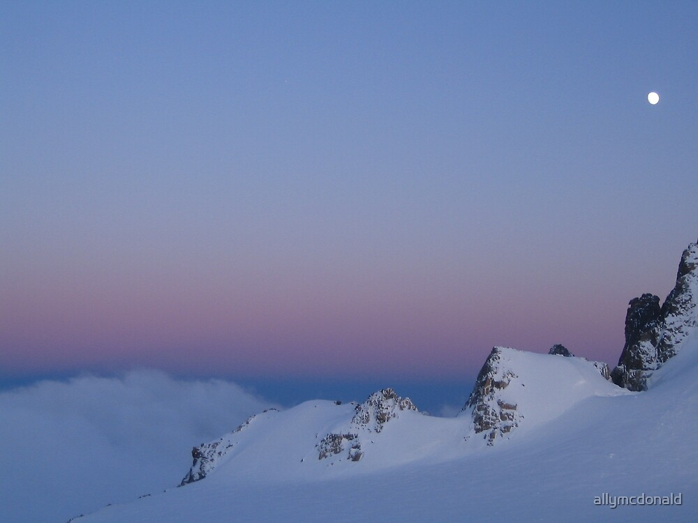 Moon over Mont Blanc by allymcdonald