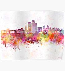 Medellin skyline in watercolor background Poster